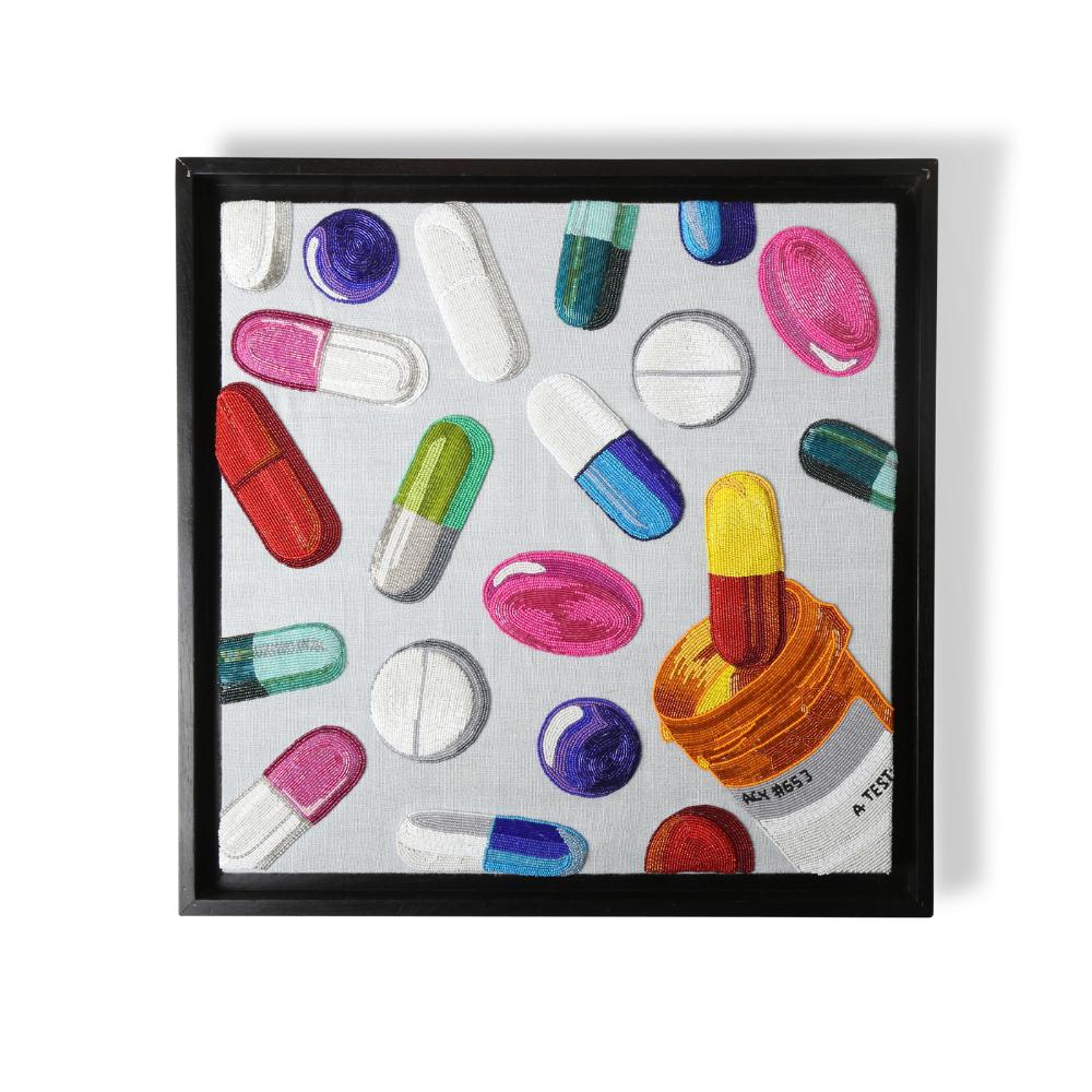 Happy Pills Beaded Wall Art In 2021 Art Happy Pills Wall Art Designs