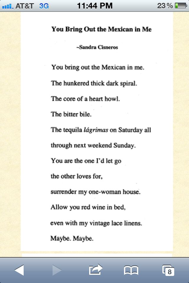 You Bring Out The Mexican In Me - Sandra Cisneros: Not many people ...