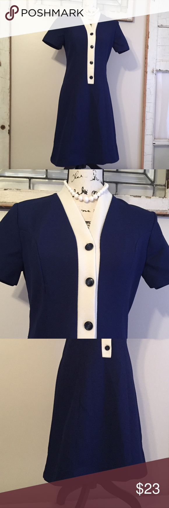 239a4c12a Vintage 60s Navy Dress Flattering navy dress from the 1960s. Navy blue with  white trim
