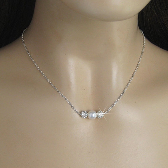Bridal Necklace Crystal Rhinestone Fire Ball and Pearl Necklace