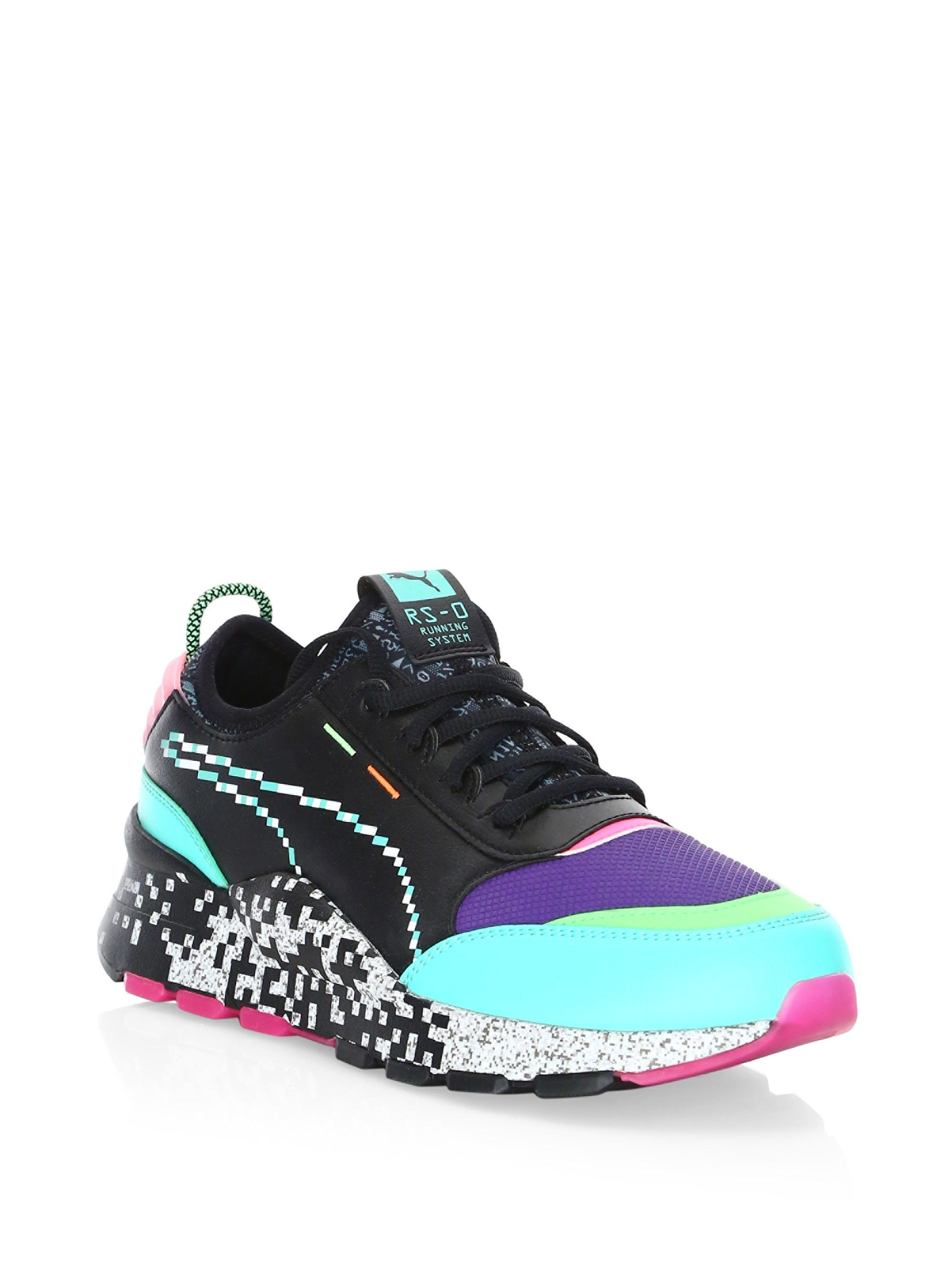 9c953f46023 Puma Rs-0 Game Error Sneakers - Black Green Pink 10.5