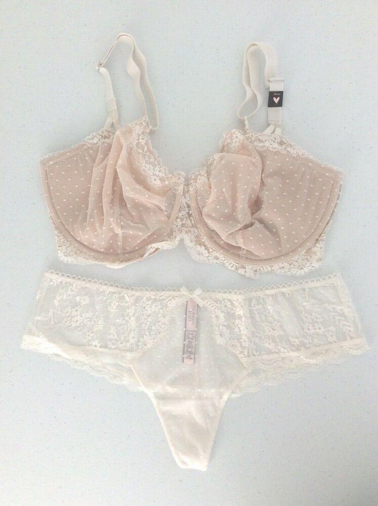 2672ede9061b VICTORIA SECRET Dream Angel Dot Lace Wicked Unlined Uplift Bra/Panty Set  38DDD/L #VictoriasSecret #UNLINED