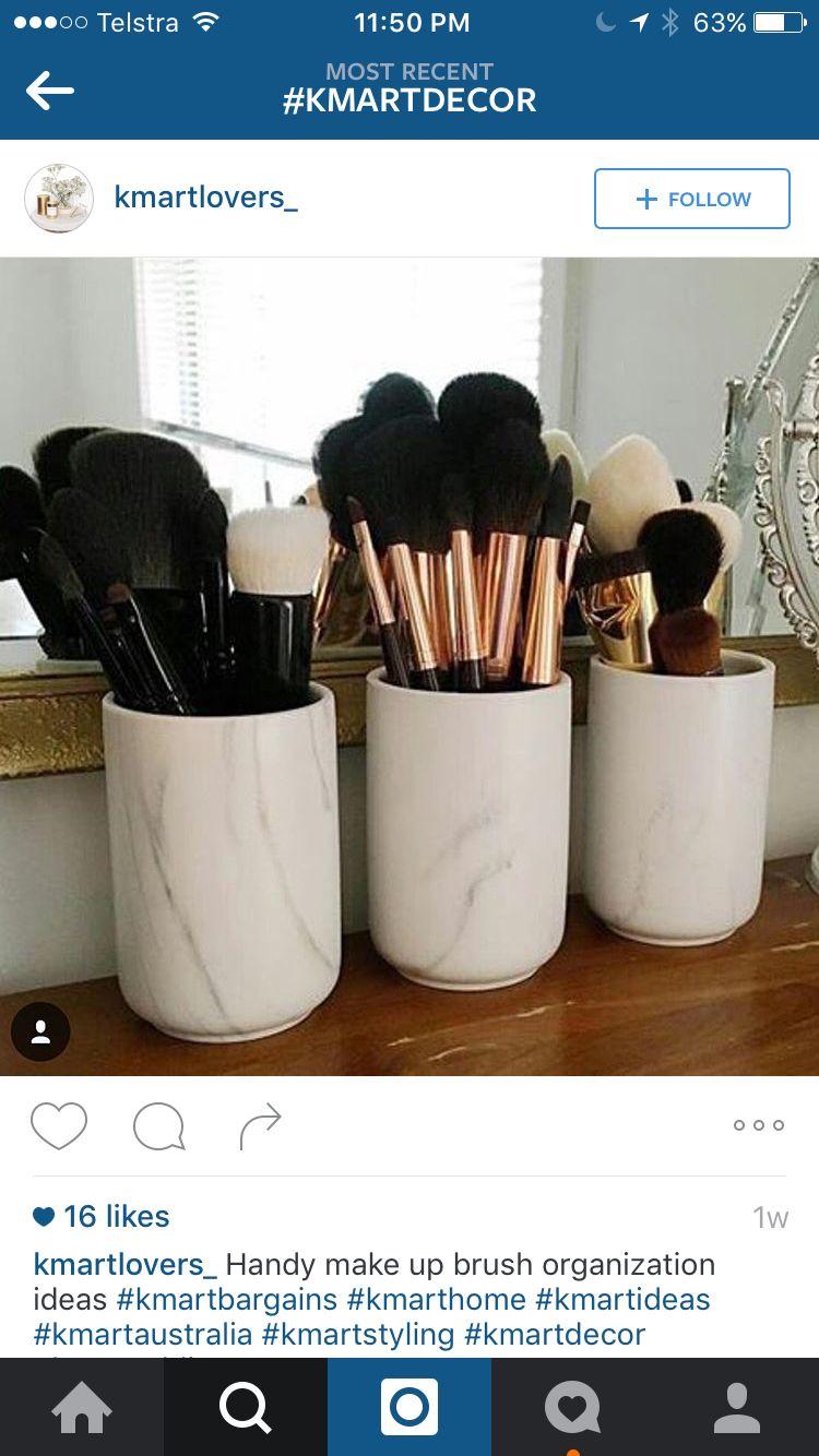 Cannisters For Makeup Brushes Etc Kmart Hacks Makeup Storage