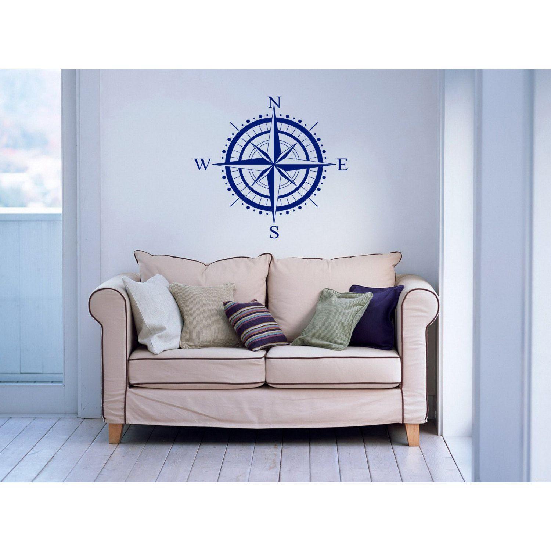 Nautical compass rose vinyl sticker wall art apartment pinterest