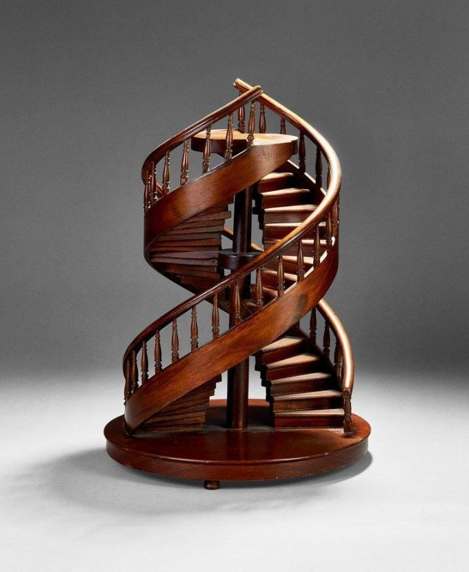 Best A Carved Walnut Dual Spiral Staircase Masterpiece Late 400 x 300