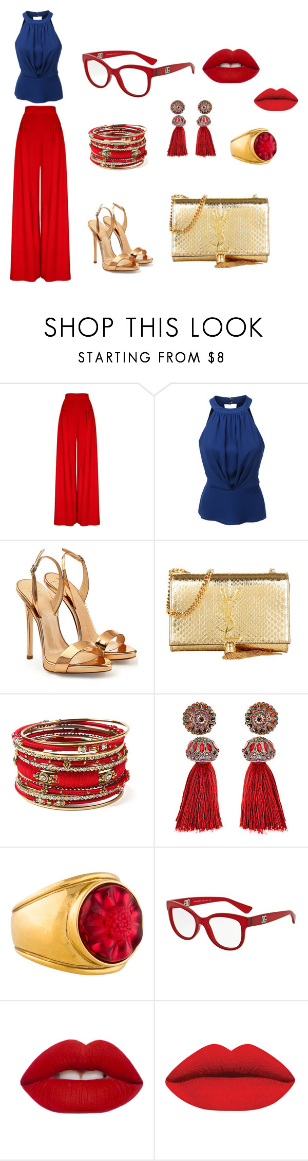 evening chic  look by lisa-elijah on Polyvore featuring LE3NO, Giuseppe Zanotti, Yves Saint Laurent, Amrita Singh, Lanvin, Lalique, Dolce&Gabbana and Lime Crime