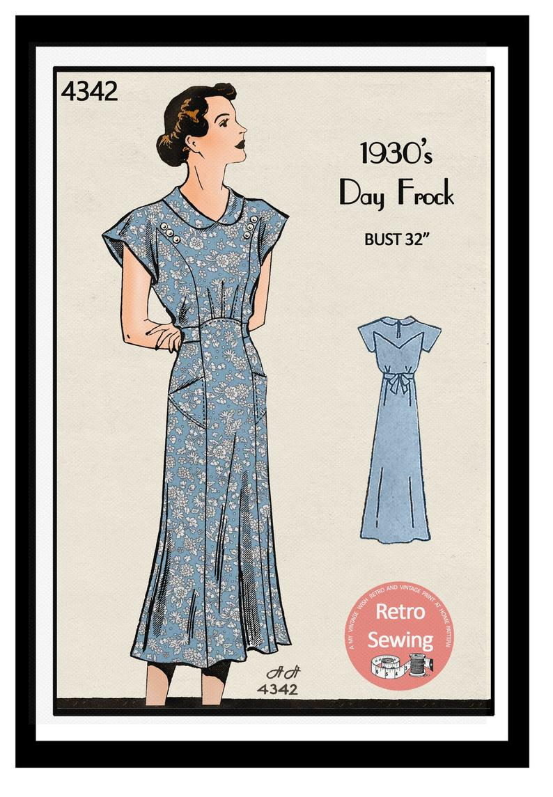 1930s Casual Tea Dress With Pockets Sewing Pattern Pdf Etsy In 2020 Tea Dress 1930s Dress Pattern French Sewing Patterns