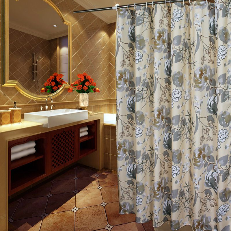 Elegant Gray Ivory Floral Luxury Shower Curtains