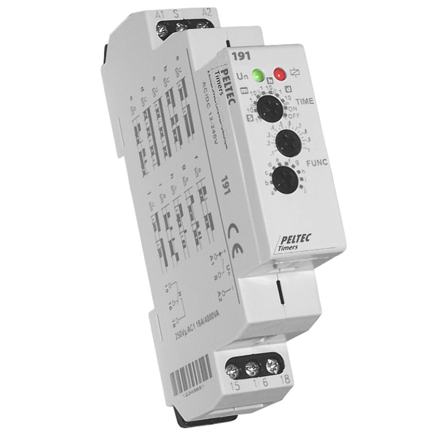 The Peltec 191 Is A Universal Voltage Multifunction Din Rail Timer Circuit Breaker With 10 Selectable Timing Modes