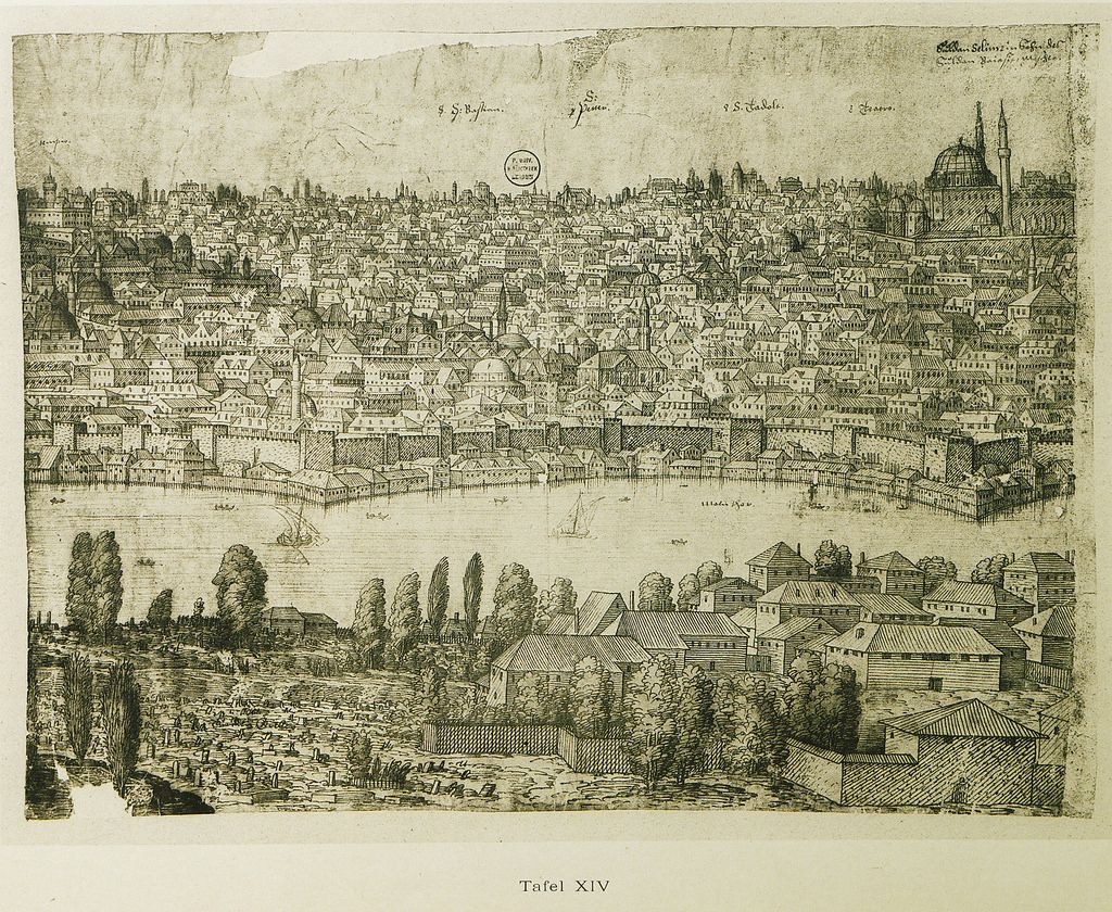 Part of the panoramic view of Istanbul the western shore of the Golden Horn.3   par OTTOMAN IMPERIAL ARCHIVES