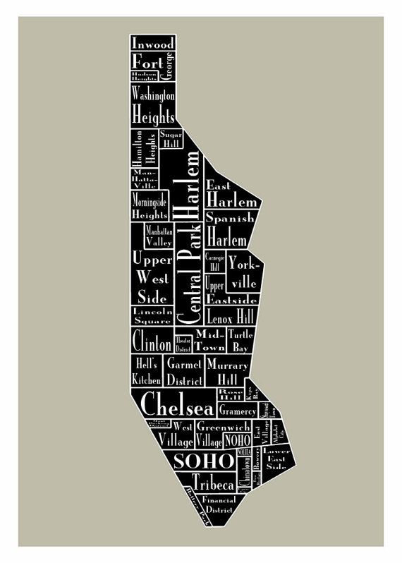 New York City Map Manhattan Neighborhood Map 13x19 New York Black ...