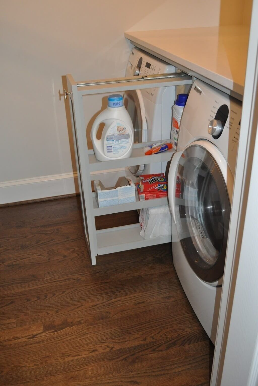 Modern Small Pull Out Laundry Essentials Metal Rack In Between Washer And Dryer Laundry Room Storage Laundry Room Organization Small Laundry Room Organization