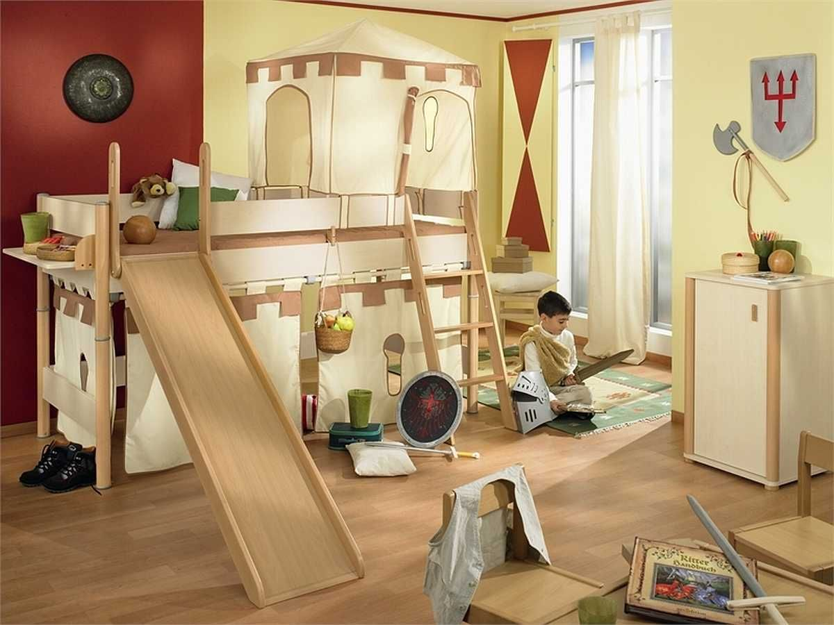 magnificent beige and red themed kids bedroom design ideas with unique play bed that have wood
