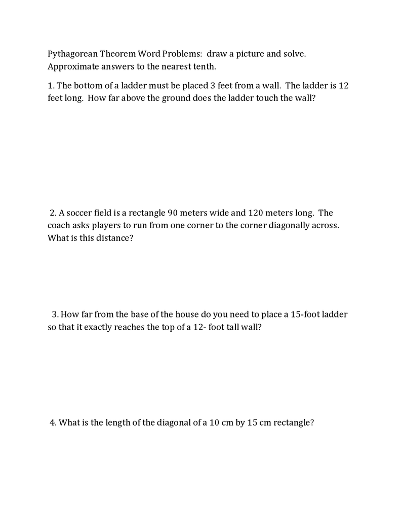 Pythagorean Theorem Word Problems Pdf Pythagorean Theorem Theorems Word Problems