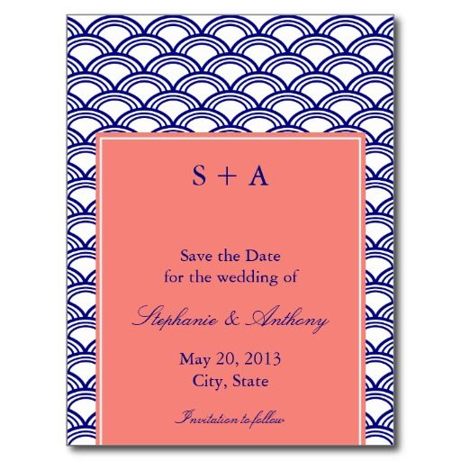 Monogram Navy and Coral Seigaiha Pattern Wedding Postcards