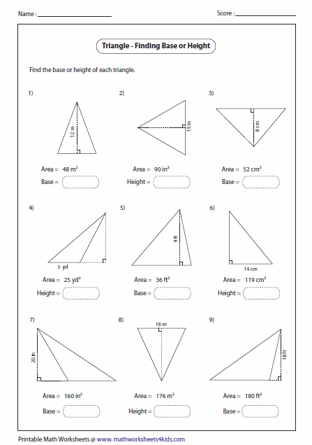 Image Result For Find The Base And Height Of A Parallelogram Given The Area Worksheets Triangle Worksheet Mathematics Worksheets Area Worksheets