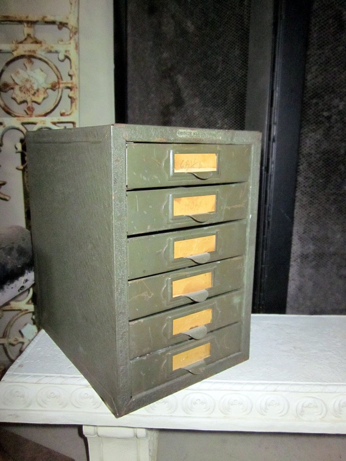 eames machine age industrial file cabinet table top 6  drawer tool chest MASTER    Steampunk. $86.50, via Etsy.