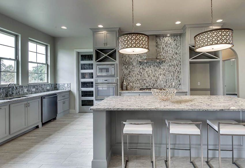 Existing Obsessions 8 Heavenly Kitchens With White Granite Countertops White Granite Countertops Light Gray Cabinets Grey Kitchen Cabinets