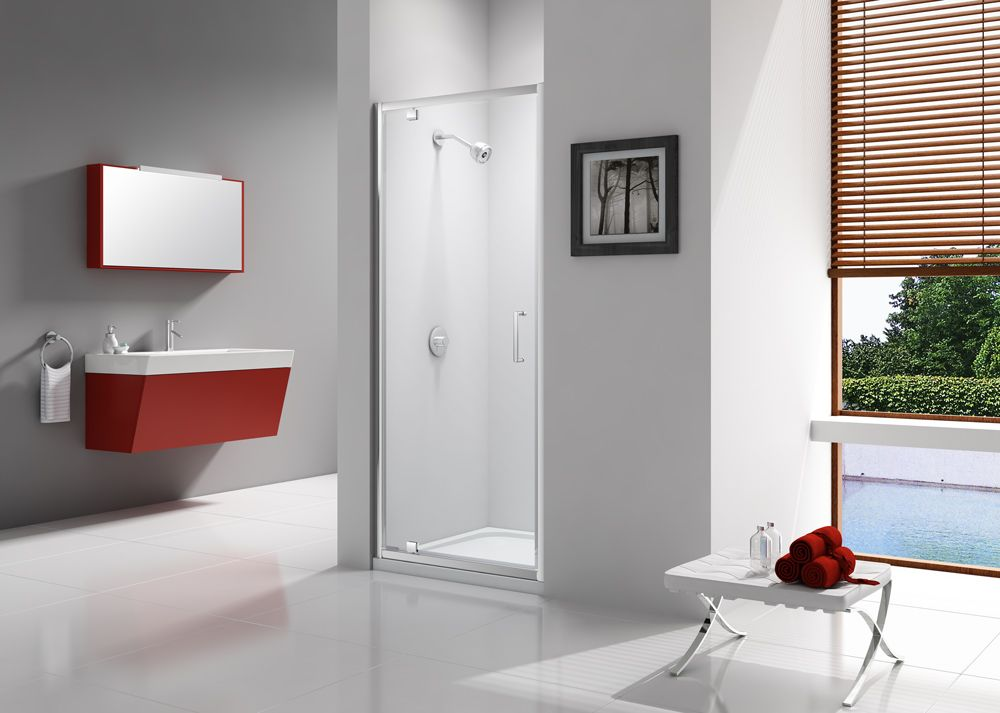 Combining Style With Practical Functionality The Express Pivot Door Has Mershield Stayclear Protected 6mm Gla Contemporary Shower Shower Enclosure Bath Screens
