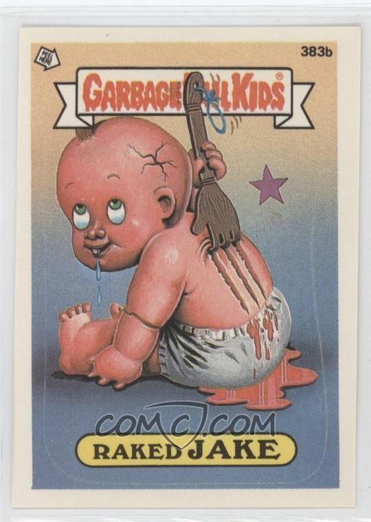 Jake Charmer Garbage Pail Kids 1987 Garbage Pail Kids 383b Raked Jake With On Back Garbage Pail Kids Cards Garbage Pail Kids Kids Stickers