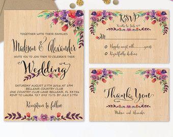 Fl Wedding Invitation Printable Boho Chic Por Digartdesigns