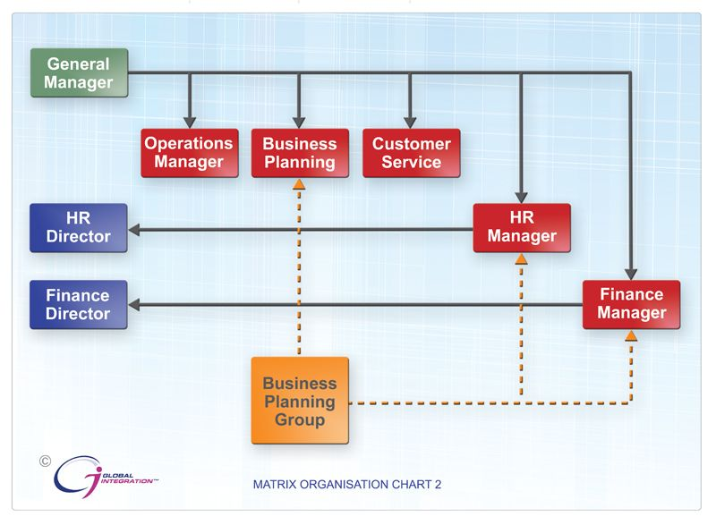 Sample 6: Matrix Organization Chart | IT Organizational Structure ...