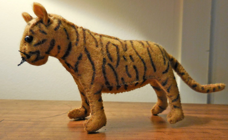 SOLD.  Felt stuffed tiger, stuffed animal tiger, tiger soft toy by WoolStreetStitchery on Etsy