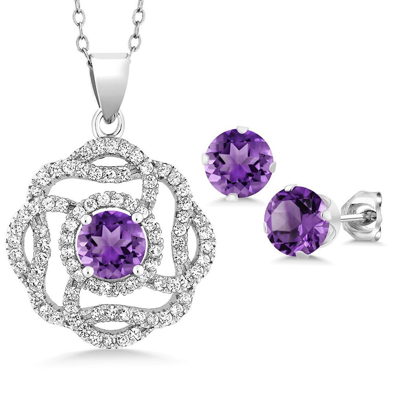 ct round purple zirconia sterling silver pendant earrings