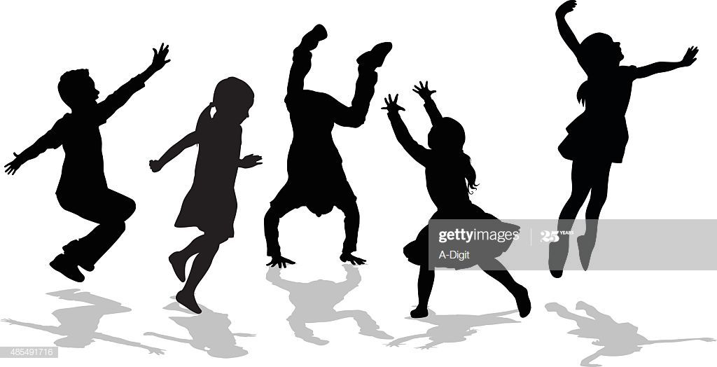A Vector Silhouette Illustration Of Five Children Playing Running Kids Silhouette Silhouette Clip Art Silhouette Illustration