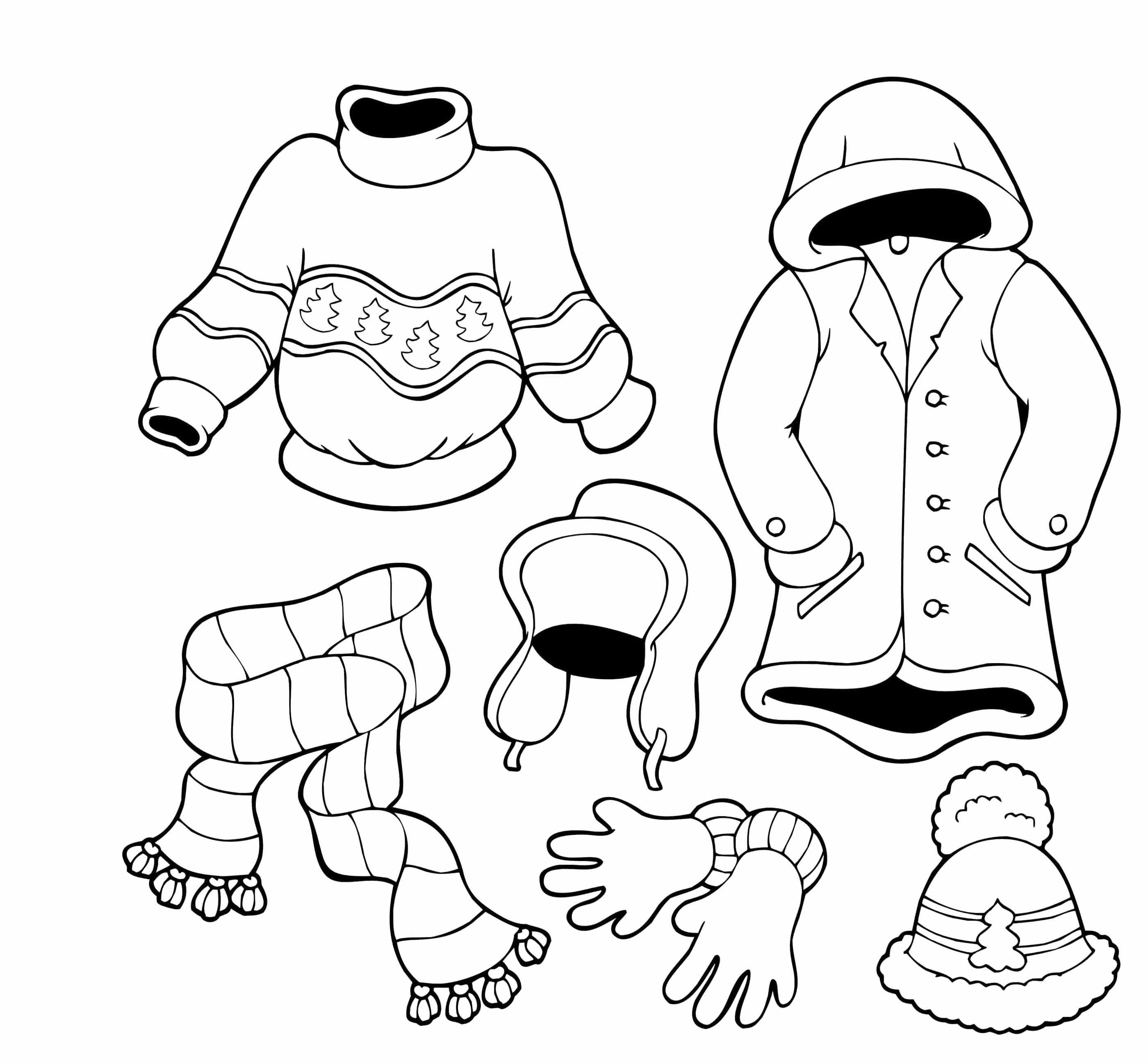 Winter Clothes Are Nice And Cool Coloring For Kids Oblečenie