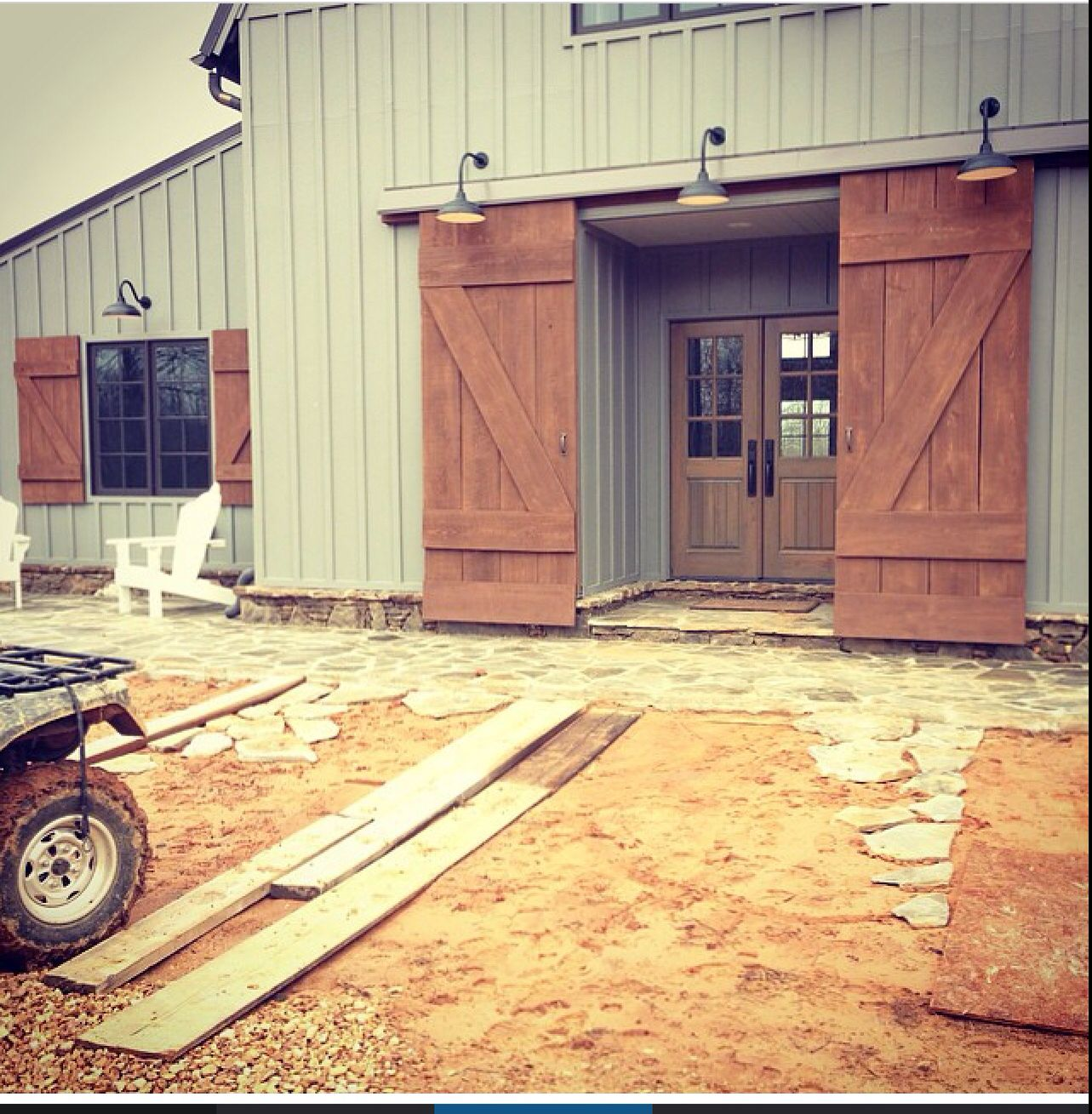 Gl Want To Do Something Like This For The Door Exterior Barn Doors Barn House Building A House