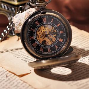 Luxusné vreckové pánske hodinky v bronzovej farbe s drevom  5e814e0d513