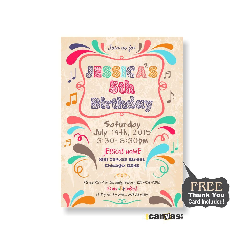 Paint Party Invitation. Art Birthday Party Invite, Kids Painting ...