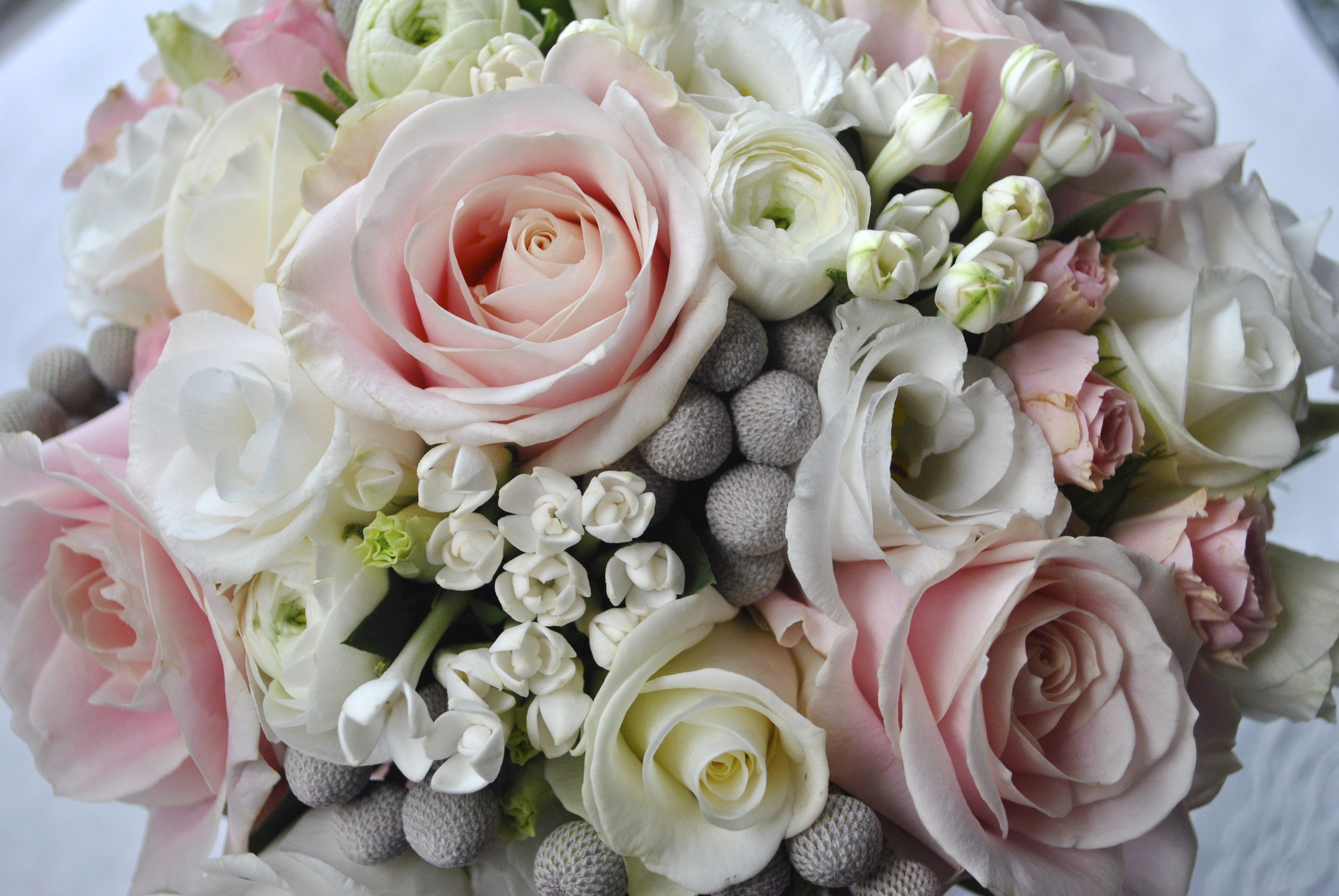 Grey And White Wedding Bouquet With A Touch Of Pink Dreamy Colour