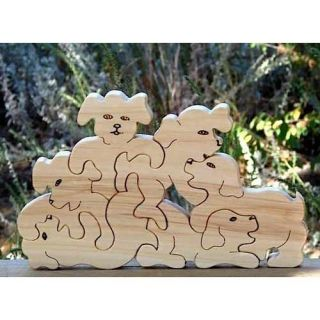 Wooden Puzzle Playful Puppies