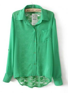 Green Back Lace Hollow Lapel Long Sleeve Blouse [Long Sleeve Blouse Green] - $29.00 : EverMissFashion.com