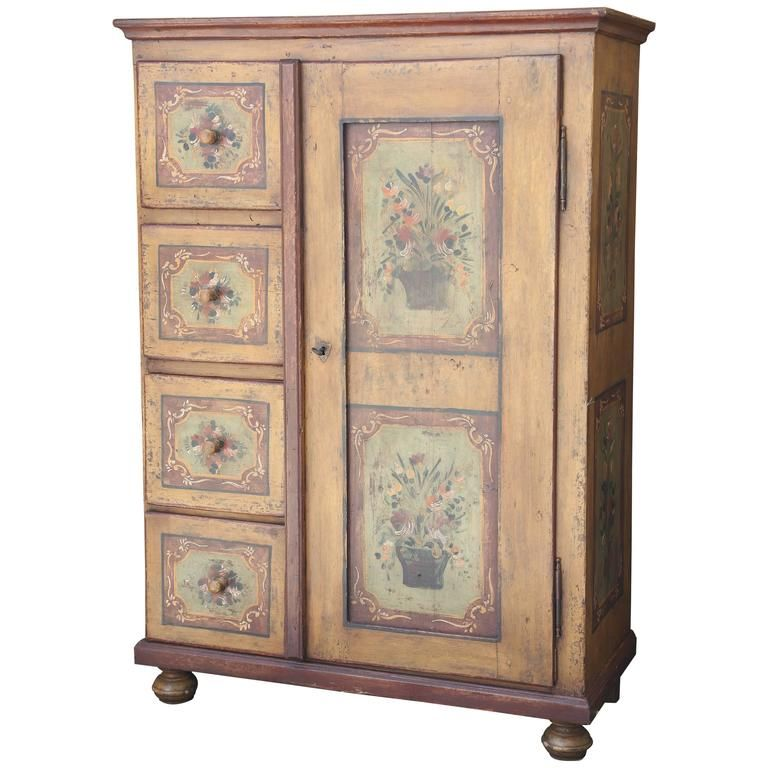 Superb 19th Century Hand Painted Italian Armoire See More Antique And Modern Wardrobes And Armoires Painted Armoire Painted Jewelry Armoire Armoire For Sale
