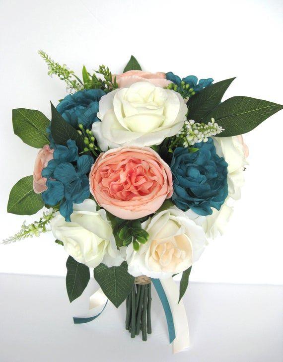 Wedding Bouquet 17 Piece Bridal Bouquet set TEAL CORAL Peach BLUSH Wedding Silk Bridal bouquet Wedding flowers Bridesmaid RosesandDreams