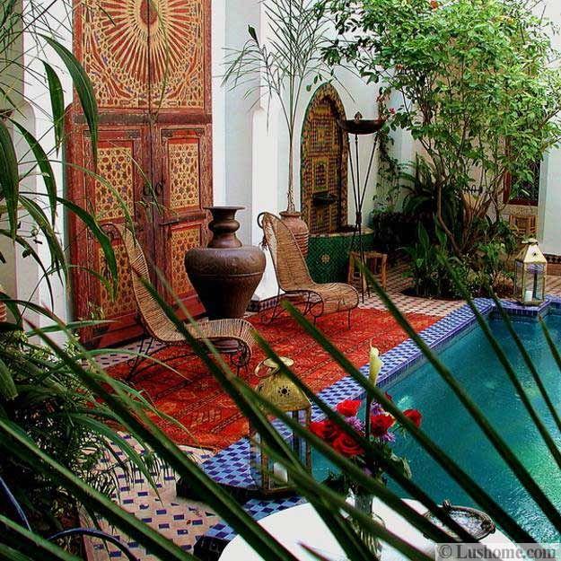 ulkona kodin sisustus Marokon tyyli