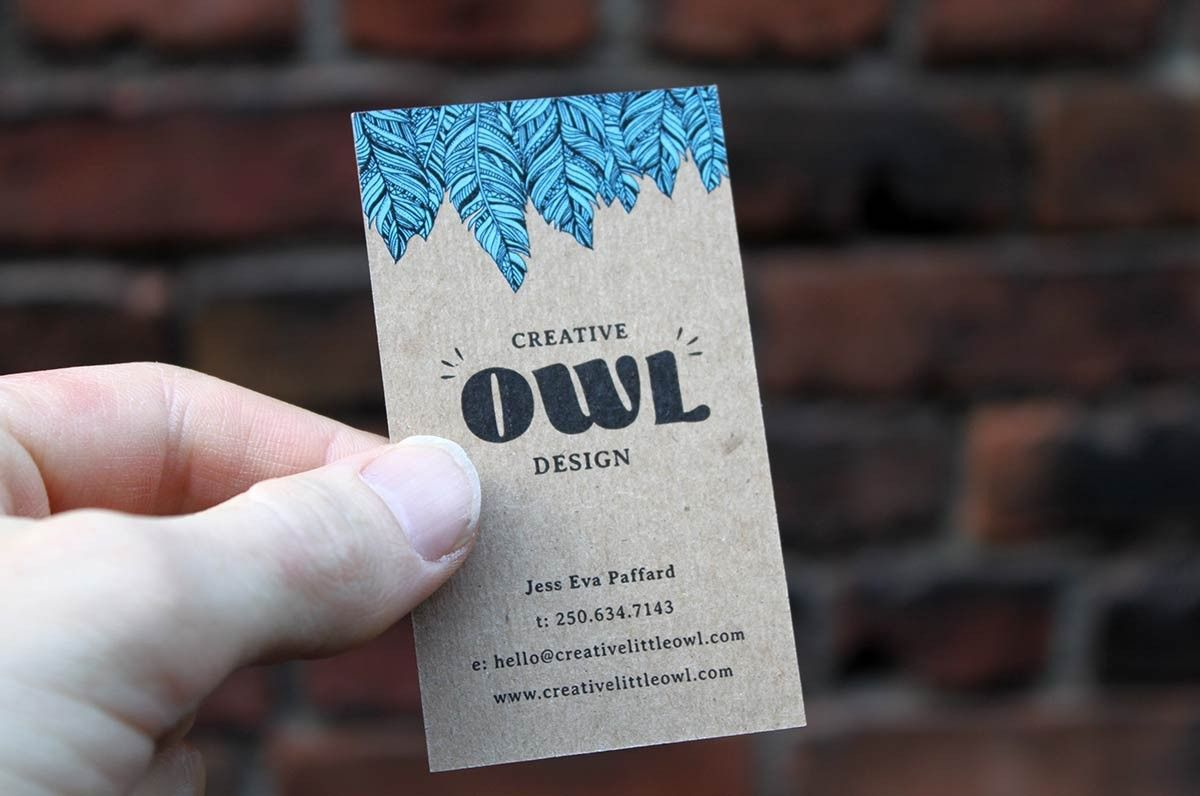 Natural Kraft Business Cards Are Printed In Full Color Plus White ...