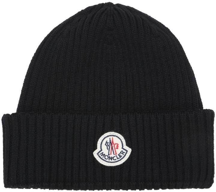 Moncler Logo Wool Rib Knit Beanie Hat Mens Wool Hats f1672c59a16
