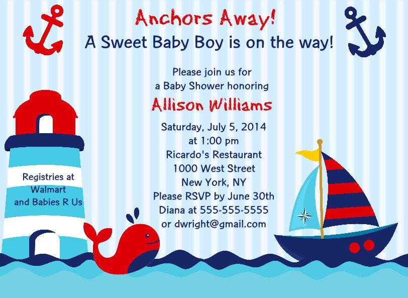 BabyShowerInvitation Anchors Away Ships Ahoy Nautical Whale Baby ...