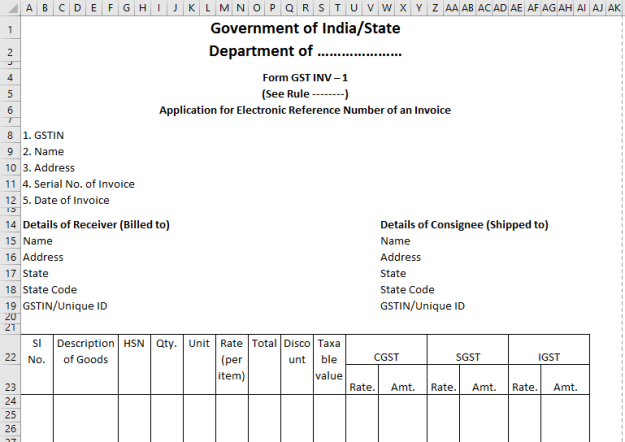 Image result for gst invoice format in excel download | desktop ...