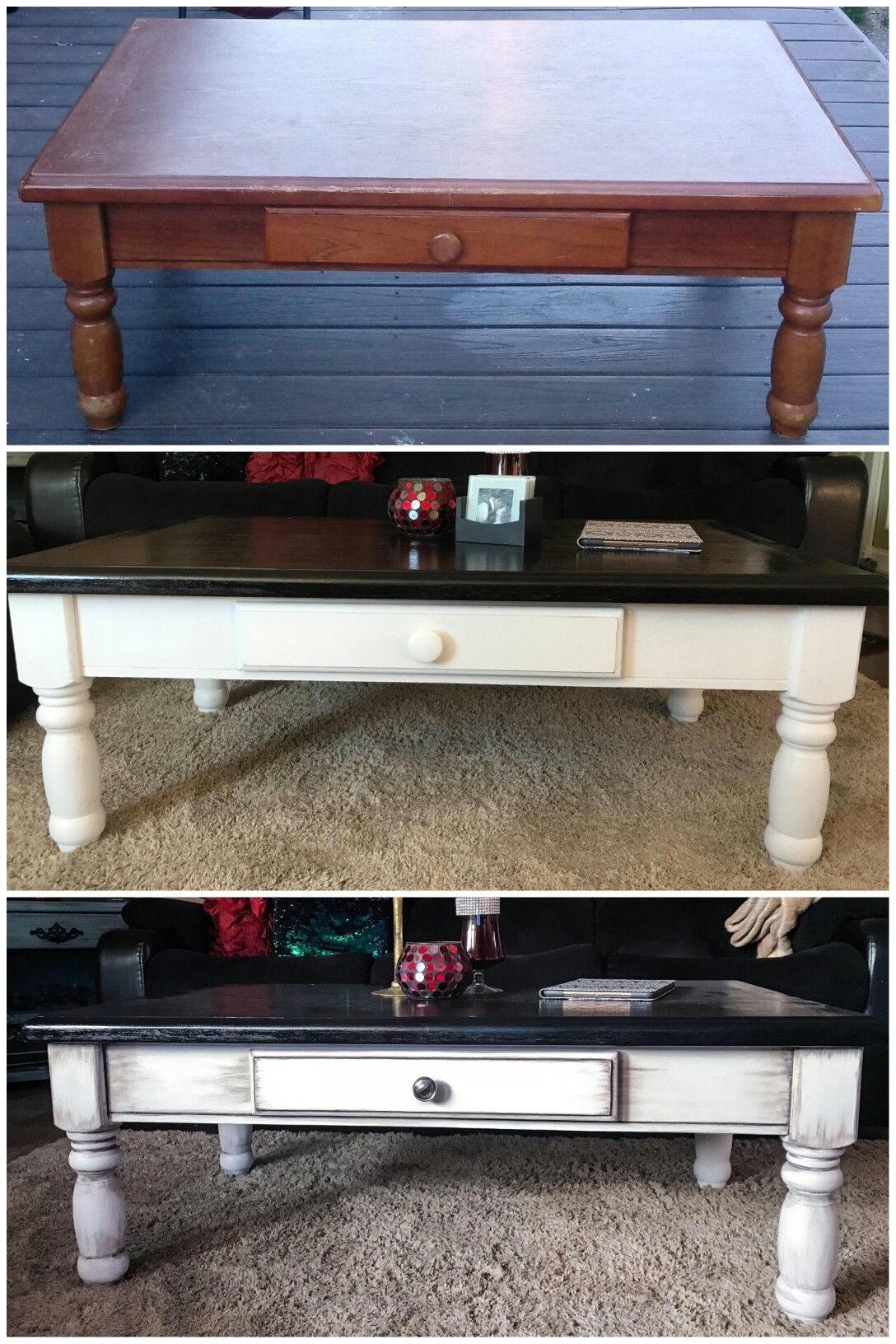 Coffee Table Refinish Hand Sanded Stained Painted And Hand Detailed Black Stain On To Coffee Table Refinish White Chalk Paint Furniture Coffee Table Wood