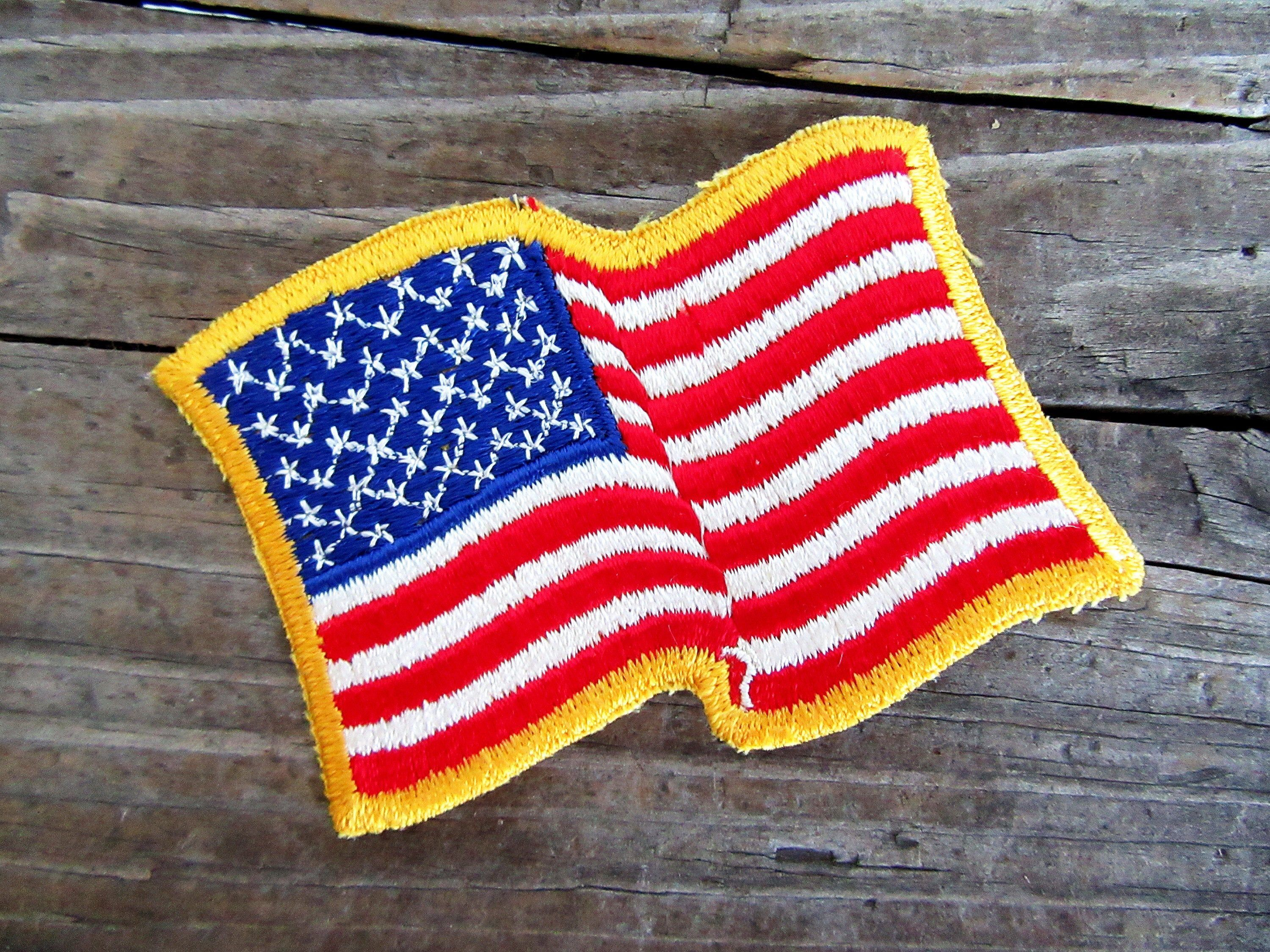 Vintage Usa Flag Patch Yellow Border New Old Stock Usa Flag Etsy In 2020 Flag Patches Vintage Usa Sewing A Button