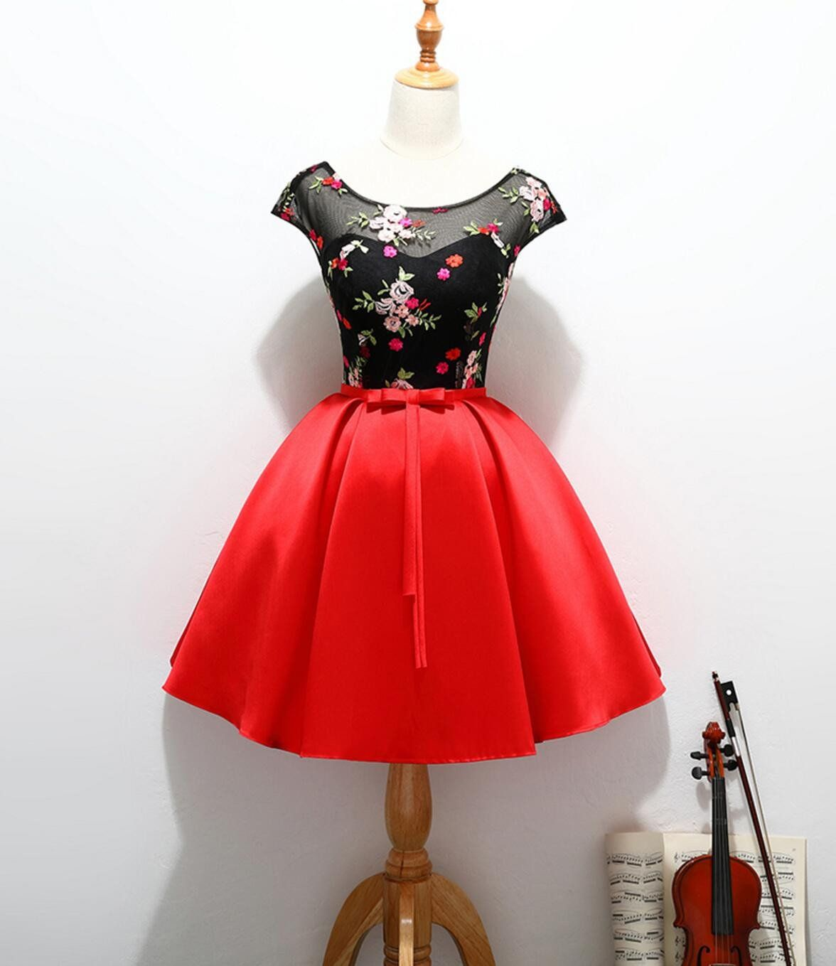 Cap sleeve red and black cute homecoming prom dresses affordable