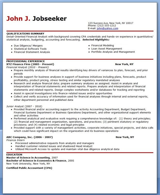 Financial Analyst Resume Sample Creative Resume Design Templates - financial analyst resume example