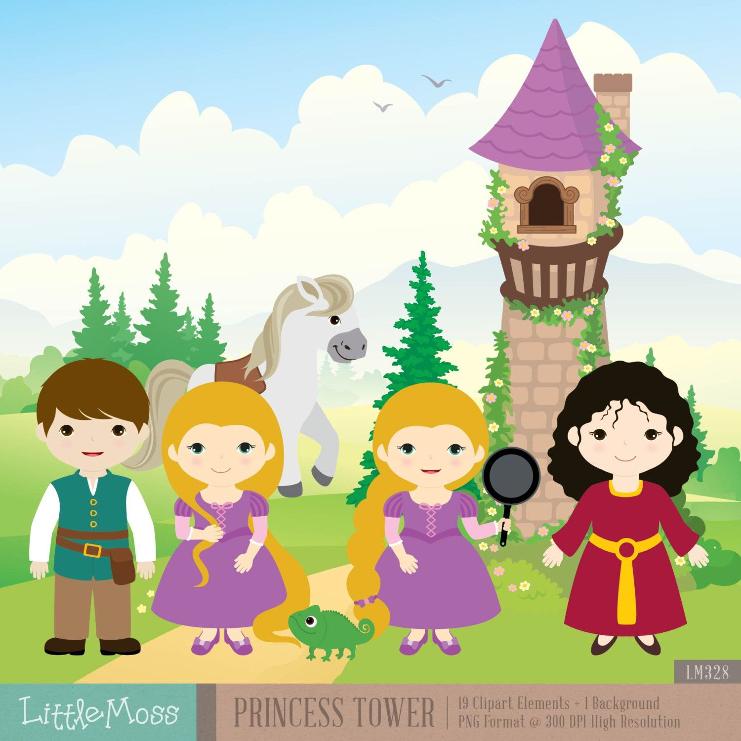 Princess Tower Digital Clipart Etsy Digital Clip Art Clip Art Princess Tower