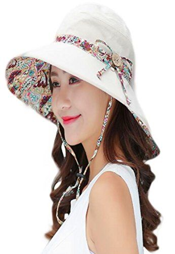 Bangled Womens Sun Hat Summer Reversible UPF 50+ Beach Hat Foldable Wide  Brim Cap( 583744be0919