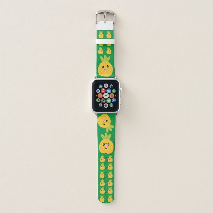 Cute Pineapple kawaii tropical Apple Watch Band | #cute #kawaii #electronicaccessories #watch #band #applewatch #applewatchband #apple #smartwatch #iphone #technology #science #tropical #rainforest #exoticfruit #pineapple #pineapplelover #fruit #food #foodie #fun #girls #giftsforher #ladies #pine #yummy #zazzle